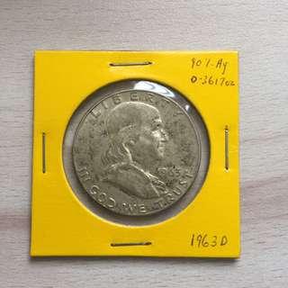 USA 1963 silver half dollar coin