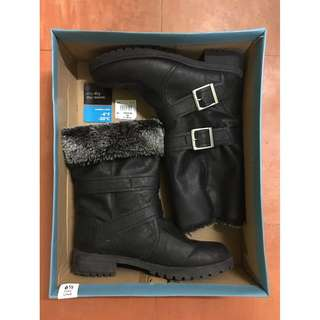 Two-way wear black boots with warm lining
