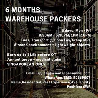6 months Warehouse Packer - up to $1.9k before OT   Tuas
