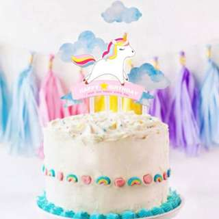Unicorn Happy Birthday and Clouds Cake Topper Kit