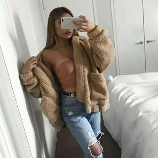Beige Faux Fur Coat Pixie Jacket