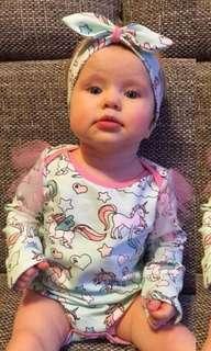 Baby Girl Unicorn Romper with Matching Hairband