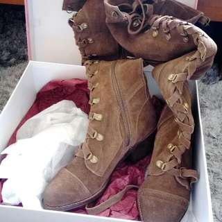 Brown Suede Tall Boots