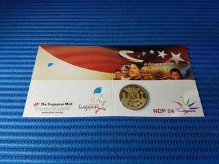 2004 Singapore Medallion NDP 04 A Progressive Society 24K Gold Plated Brilliant Uncirculated Medallion ( Dia: 38.70mm )