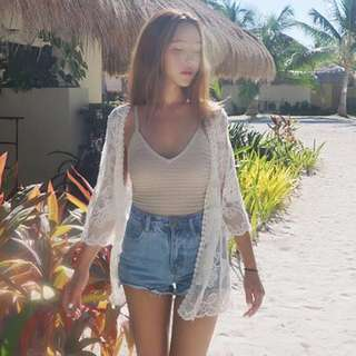 Summer Lace Cardigan Beach Cover-Ups Women Embroidery Blouse Sexy Lace Top