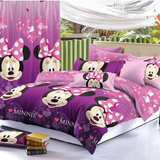 Premium Character Bed Sheet 4 in 1 Set (Minnie Mouse C3) 5D