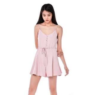 TEM Alyona Button Up Romper in Millennial Pink