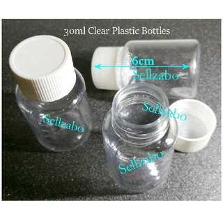 Clear : Empty Plastic Round Bottles Sellzabo See Through Colour 30ml Level Markings 30g