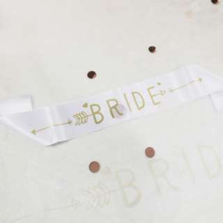BRIDE gold lettering on white sash
