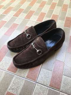 Gucci Horsebit Suede Loafer Brown Size 45E