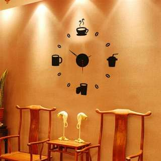 Kitchen cups decor Mirror sticker wall art modern clock