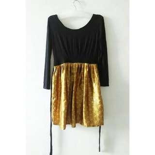 Vanilla Noir Black - Gold Dress