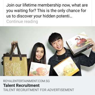 https://www.royalentertainment.com.sg/talentrecruitment.html  #RoyalEntertainment #皇室娛樂 #TalentRecruitment #招募新人 #AdvertisementTalent #廣告新秀