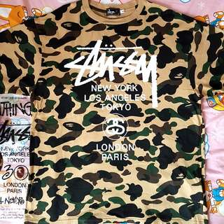 A Bathing Ape x Stussy 30th Anni 1st Yellow Camo Tee.