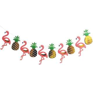 Flamingo and Pineapple Banner