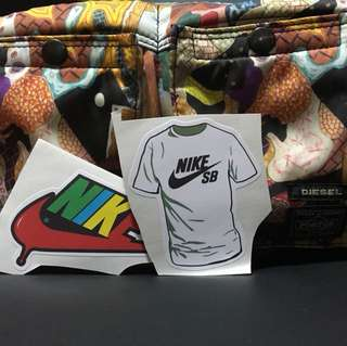 Nike SB shirt and logo 2pcs stickers ideal for laptop and etc