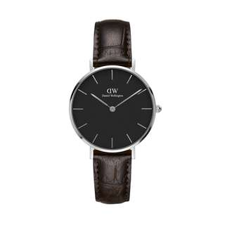 100% Original [SALES] Daniel Wellington Watch Classic Petite Collection York Silver 28mm / 32mm Black Face Free Delivery