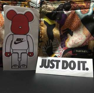Bear brick Nike stickers just do it 2pcs sticker for laptop or etc