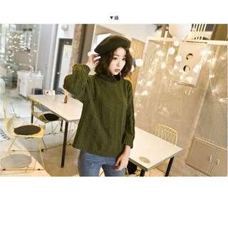 🚚 麻花針織高領上衣-綠