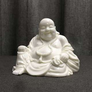 Happy Buddha ~ White Ceramic