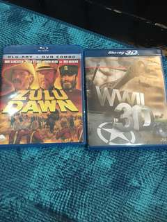 Zulu Dawn/WWII 3D, blu ray, 2 films