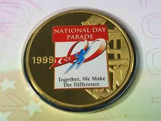 1999 Singapore National Day Parade 24K Gold Plated Medal in Folder