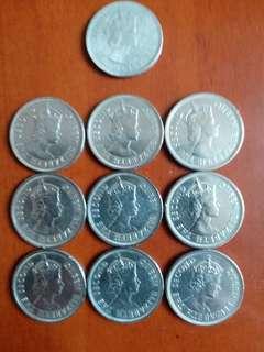 香港:硬幣👉女皇頭全部1970年👉共9個