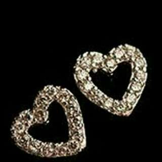 Lady Love Heart Silver Plated Rhinestone Ear Stud Earrings