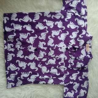 Set Batik Anak Cowok Cewek Dino Ungu