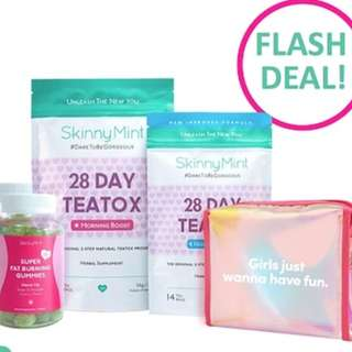 SkinnyMint Birthday Bundle (28Day + Gummies) with FREE Holographic Pouch ! ★best value★