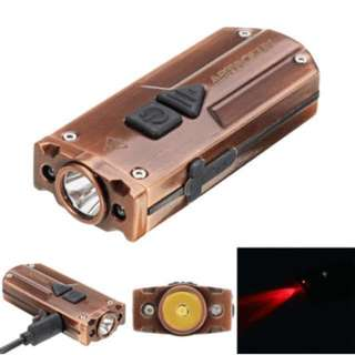 350 Lumens light with RED and UV rechargeable keychain light