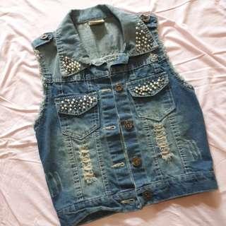 Rompi jeans murah second dengan taburan mutiara yang cantik