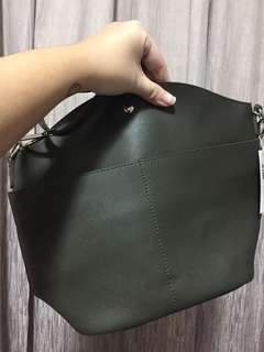 Green faux leather bag