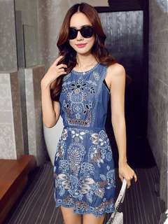 AO/MKC072537 - Palace Fashion Embroidered Hollow Out Sleeveless Denim Dress