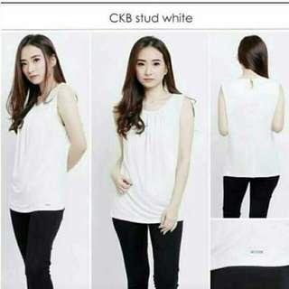 Calvin klein white blouse bahan polyester spandex original