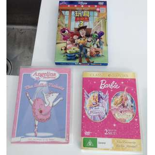 3 DVD Angelina Ballerina, Toys Stories & Barbie