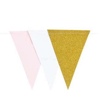 Blush Pink / Gold / White Flag Bunting Banner Garland