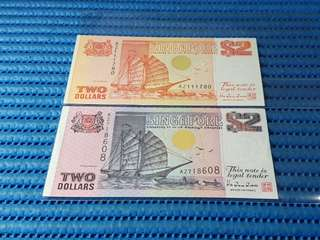 2X AZ Singapore Ship Series $2 Note AZ 111780 & AZ 718608 Prefix AZ Dollar Banknote Currency HTT