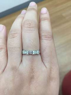 REPRICED super low 14k white gold ring with genuine diamonds