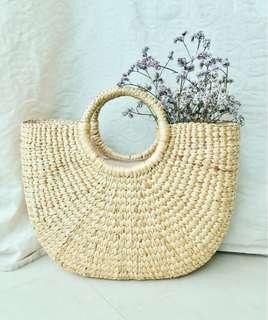 Straw Bag Woven Rattan Bag Crescent Basket Bag