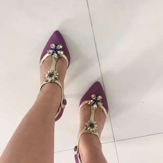 REPRICED very low Dolce and Gabbana Plum shoes with Crystals