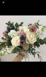 Garden Style Bridal Bouquet In Ivory and Pink / Roses with Rustic Fillers