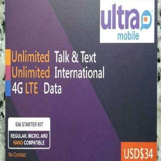 USA 美國 上網卡 30日 4G 2GB +3G 2GB +無限數據卡  +無限通話 SIM CARD