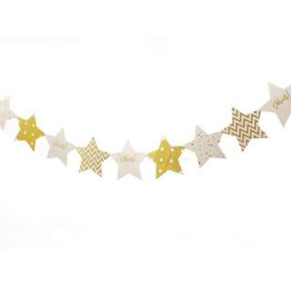 Gold Stars Polka Dots, Chevron, Celebrate Flags Banner