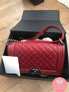 CHANEL LE BOY OLD MEDIUM CAVIAR RED RETH