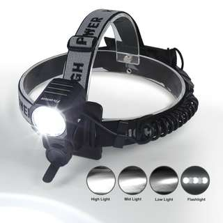 LED Head Torch Fivanus Running Head Light 4 Modes 2200 Lumens Rechargeable
