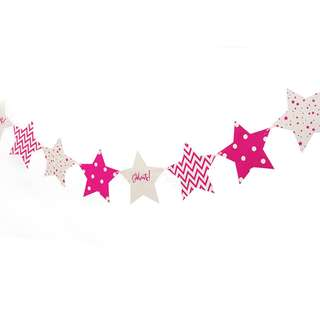 Pink Stars Polka Dots, Chevron, Celebrate Flags Banner