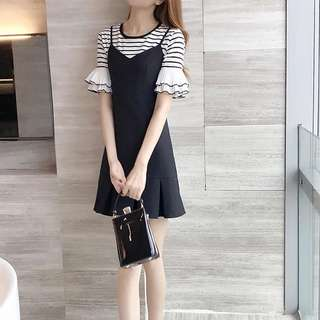 2pc Monochrome Stripe Bell Sleeves Top with Black Strap Dress