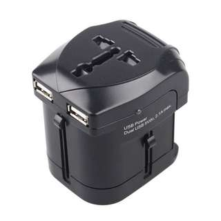 Universal Travel Power Plug Adapter Socket US AU UK to EU Plug Travel Wall Converter With Dual USB Charger 5V 2.1A