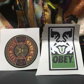 2pcs Obey skateboard laptop etc stickers